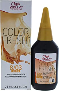 Wella Color Fresh Semi-Permanent Color 8 03 Light Blonde-Natural Gold for Unisex Hair, 2.5 Ounce
