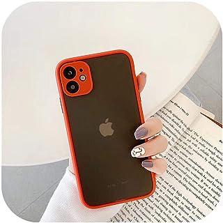LLFVN for iPhone 12 Mini 11 Pro XR XS Max 6S 7 8PlusマットソフトシリコンクリアハードPCバックカバー用耐衝撃アーマープレーンケース-Red-for iPhone X or XS