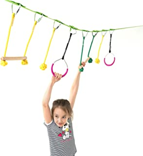 Powerfly Ninja Hanging Obstacle Course Kit for Kids - 36' Slackline, 2 Monkey Bars, 2 Gymnastics Rings, 3 Fists - Obstacles Adventure Line Equipment Set for Backyard or Playground Activities