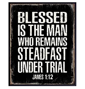 Christian Gifts for Men - Blessed Wall Decor - Masculine Christianity - Religious Gifts for Men - Bible Verse Wall Art - Scripture Wall Art - Inspirational God Wall Decor - Catholic Gifts for Men