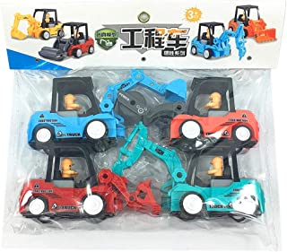 4 Pack Push Go Friction Powered Car Toys Set Tractor Bulldozer Truck and Dumper Pull Back Vehicles Friction Powered Cars (...