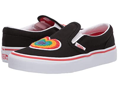 Vans Kids Classic Slip-On (Little Kid) ((Chenille) Rainbow Heart/True White) Girls Shoes