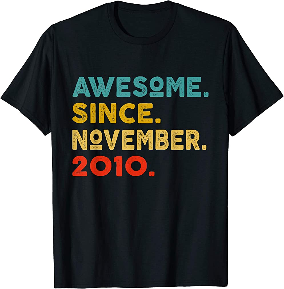 9th Birthday Gift Retro Vintage Awesome Since November 2010 T-shirt