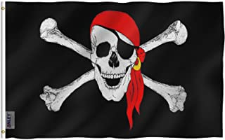 Anley Fly Breeze 3x5 Foot Jolly Roger Flag with Red Bandana - Vivid Color and UV Fade Resistant - Canvas Header and Double Stitched - Pirate Flags Polyester with Brass Grommets 3 X 5 Ft