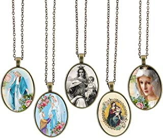 Bling Bling Glass Cabochon Necklace Holy Madonna Virgin Mary Pattern of Pendant Inspired Necklace with Long Bronze Chain 23 inches Handmade for Gifts 5pcs