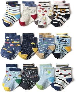 Estwell 12 par skarpet antypoślizgowych dla dzieci, dla małych dzieci, z bawełny, stoperami z tworzywa ABS, dla chłopców i...