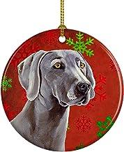 Caroline's Treasures LH9341-CO1 Weimaraner Red Snowflake Holiday Christmas Ceramic Ornament, Multicolor