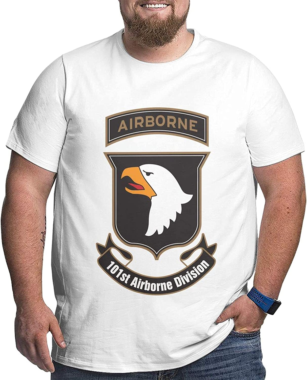 Army 101st Airborne Division Men's Simple Big Size Summer Outdoor Short Sleeve Round Collar Tops