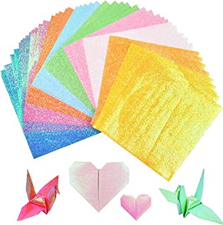 Glitter Square Folding Paper with 10 Colors Rainbow Colors Origami Paper for DIY Handcraft Gift 500 Sheets Glitter Folding Papers 4 x 4 Square Origami Paper