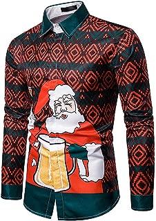 Mens Christmas Shirts Fake Two Piece Tops Blouse Funny Design Santa Claus