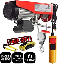 Partsam 1100 lbs Lift Electric Hoist Crane Remote Control Power System, Zinc-Plated Steel Wire Overhead Crane Garage Ceiling Pulley Winch w/Premium Straps (UL/CUL Approval, w/Emergency Stop Switch)