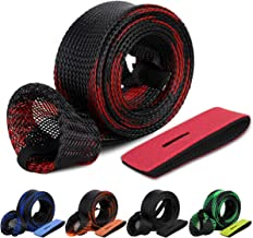 Donsino Outdoor 5Pcs Fishing Rod Sleeve Rod Cover Braided Mesh Rod Protector Fishing Pole Gloves with 5pcs Rod Straps Belts Ties Fishing Gear Tools Accessories for Spinning Casting Sea Fishing Rod