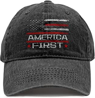 DiYYOUPIN Unisex America First Cotton hat Washed Baseball Cap