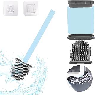 Senkora Brosse de Toilette Brosse WC en Silicone pour Salle de Bain avec Support Murale Bleu Manche Long Antibacterienne F...