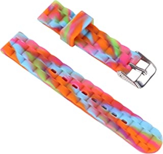 16mm Silicone Candy Colors Perforated Pin Buckle Slim Rubber Watch Band Waterproof Sport Strap