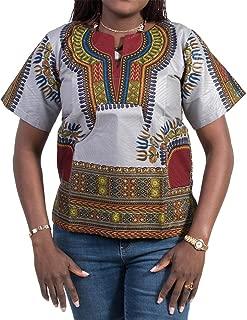 Afrihili Grey Dashiki African Print Dress Shirt for Men and Women