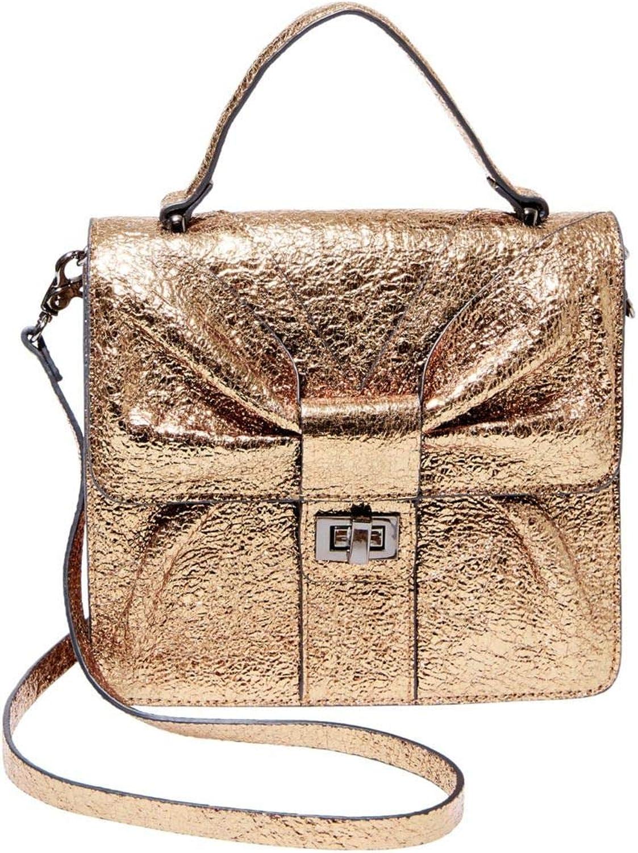 Betsey Johnson Bowtastic Top Handle Cute Crossbody Accessory Bag in gold