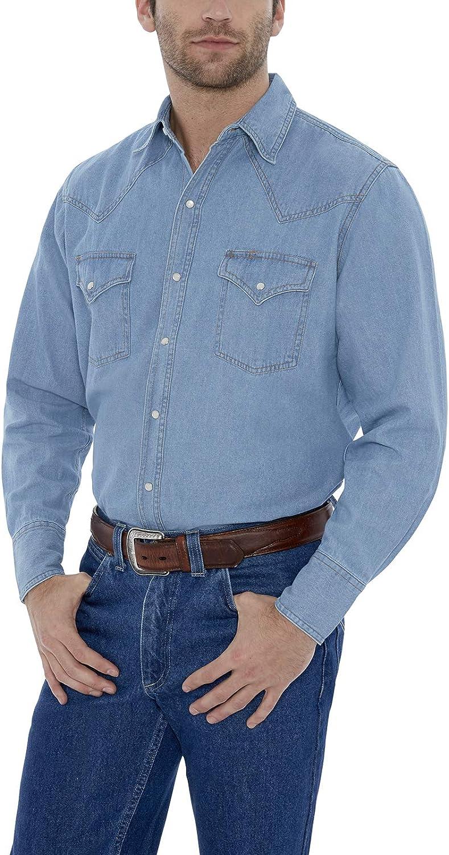 ELY CATTLEMAN Men's Long Sleeve Bleach Washed Denim Shirt