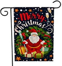 Crannel Welcome Christmas Garden Flag, Double Sided Garden Flag Santa Reindeer Greeting Card Christmas Wreath Seasonal Decorative 12.5X18Inch Flag for Home Garden Outdoor Decoration