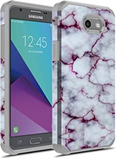 J7 V Case, Galaxy J7 Prime Case, Galaxy J7 Sky Pro Case, Galaxy J7 Perx Case, Galaxy Halo Case, Rosebono Dual Layer Shockproof Hard Cover Graphic Case for SM-J727 (Purple Marble)