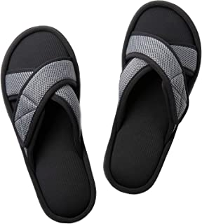 ULTRAIDEAS Men's Memory Foam Slide Slippers, Slip-on Open Toe Cross Band House Shoes with Anti-Skid Rubber Sole