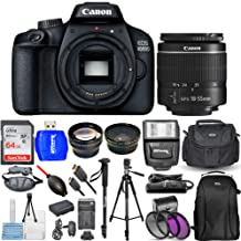$369 » Canon EOS 4000D / Rebel T100 with EF-S 18-55mm III Lens 3 Lens Top Value Bundle Includes Extra Battery and Charger, Ultra 64GB SD, Flash, Filter Kit, Backpack and Much More [International Version]