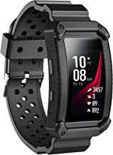 JIELIELE for Gear Fit 2 Band, Sports Replacement Silicone Wristband Strap with Protective Frame Case for Samsung Gear Fit2/Fit 2 Pro (Black2)