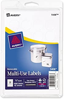 Avery Removable Print or Write Labels for Laser and Inkjet Printers, 0.75 Inches, Round, 18 Packs (5408)
