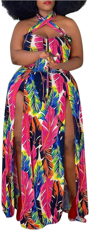 Women's Plus Size Dress Tropical Floral Print Halter Neck Maxi Long Dresses Split Hem Sexy Sundress Vestidos
