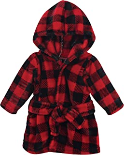 Hudson Baby - Albornoz unisex de felpa para bebé, diseño de cara de animal, color rojo y negro a cuadros, de 0 a 9 meses