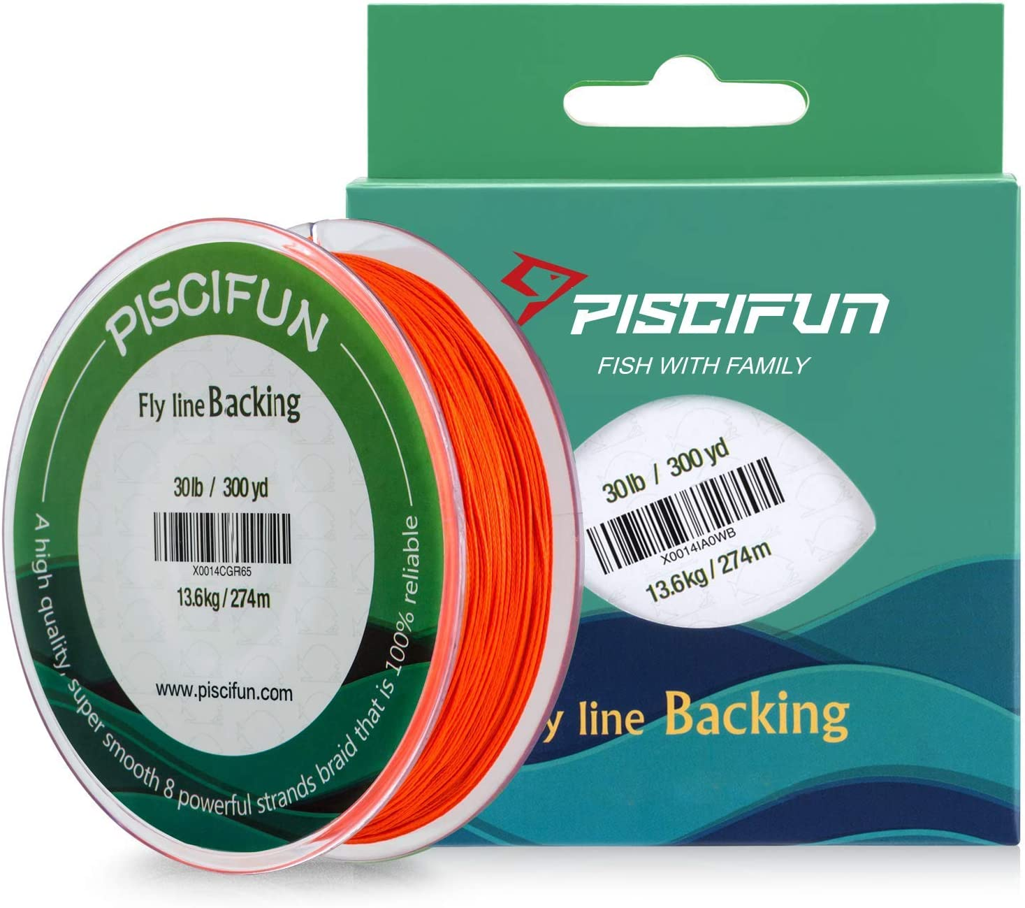 Piscifun Braided Fly Line Backing White Fluorescent Regular discount Orange with 35% OFF