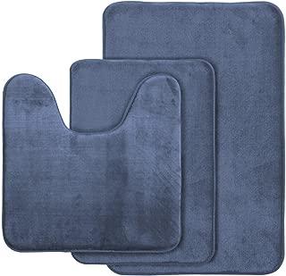 AOACreations Non Slip Memory Foam Bathroom Bath Mat Rug 3 Piece Set, Includes 1 Large 20