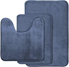 "AOACreations Non Slip Memory Foam Bathroom Bath Mat Rug 3 Piece Set, Includes 1 Large 20"" x 32"", 1 Contour 20"" x 20"" and 1..."