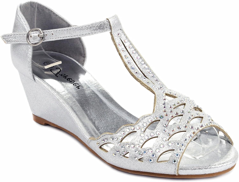 Blaze04 Rhinestone Peep Toe Cut Out Ankle Strap Low Wedge Dress Sandal