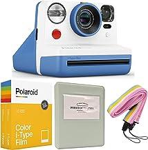 Polaroid Now i-Type Instant Camera - Blue + Polaroid Color i-Type Film (16 Sheets) + Grey Album + Neck Strap - All Inclusi...