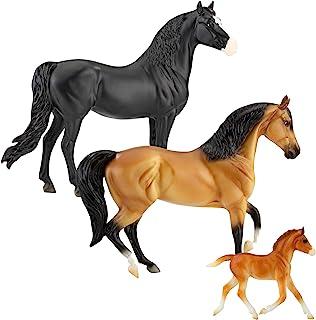 عائلة موستانج الإسبانية من سلسلة بريير هورس فريدوم | 3 حصان | لعبة حصان | 9.75 بوصة × 7 بوصة | مقياس 1:12 | لعبة حصان | مو...