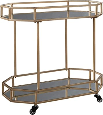 Signature Design by Ashley Daymont Bar Cart, Gold Finish