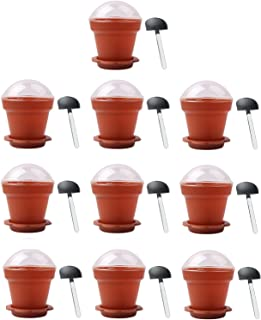 Gosear DIY Cake Cups, Flower Cups 10 PCS Home Household Party Flower Pot Shape DIY Baking Jelly Cake Yogurt Mousse Storage Transparent Cup Holder with Lid and Shovel Spoon