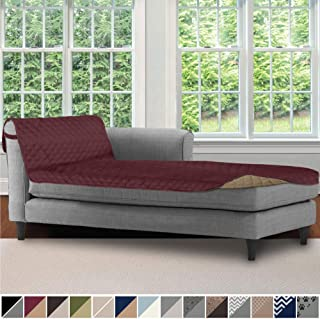 Sofa Shield Original Patent Pending Reversible Sofa Chaise Slipcover, 2 Inch Strap Hook, 102x34 Inch Seat Width, Washable Furniture Protector, Chaise Lounge Slip Cover for Pets, Dogs, Burgundy Tan