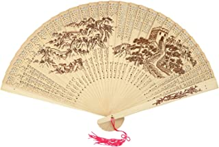 SPG Sandalwood Scented Wooden Folding Fan Hand-Crafted Japanese/Chinese Vintage Style or Wedding Decoration, Birthdays, Home Gifts (The China Great Wall)
