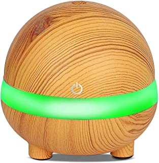 Wood Grain Essential Oil Diffusers 300ml Ultrasonic Humidifier Portable USB Aromatherapy Diffuser with Cool Mist and 7 Col...