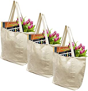 Earthwise Reusable Grocery Bags X-Large 100% Cotton Canvas Shopping Craft Beach Cloth Tote with Handles Biodegradable, Foldable and Eco Friendly Washable 20