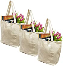 Earthwise Reusable Grocery Bags X-Large 100% Cotton Canvas Shopping Beach Cloth Tote Biodegradable, Foldable and Eco Friendly (3 Pack)