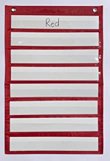 Classroom Pocket Chart by Happy Teacher with 8 Pockets + 8 Blank Cards - Measures 14