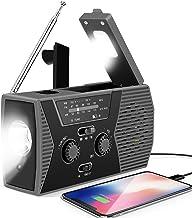 رادیو قابل حمل میل لنگ خورشیدی اضطراری Lukasa ، رادیوی آب و هوای AM / FM NOAA برای بقا در خانه و فضای باز با چراغ قوه LED ، شارژر USB پاور بانک 2000 میلی آمپری ، چراغ خواندن ، دزدگیر SOS (خاکستری)