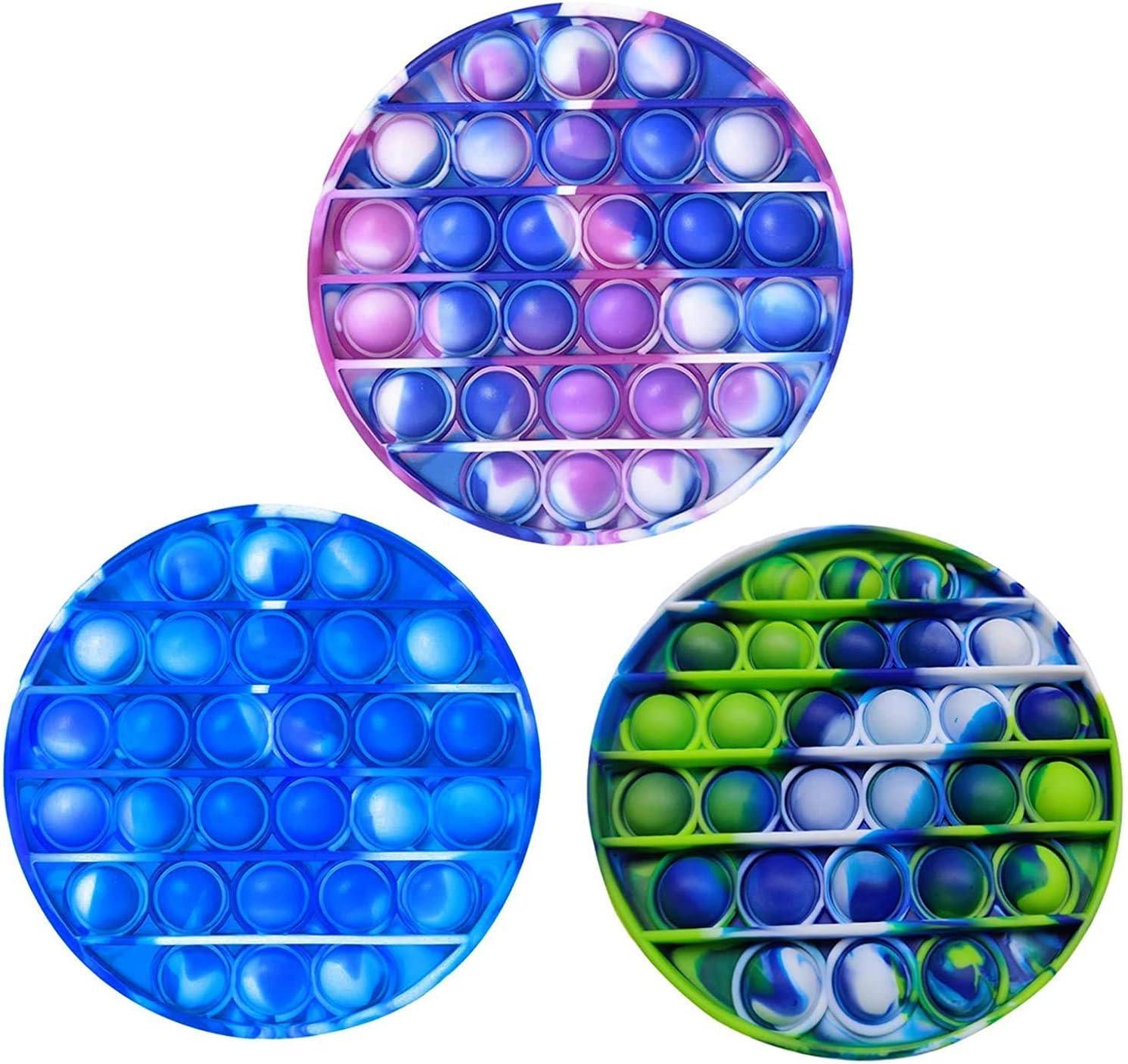 NUENUN 3PCS Silicone Tie-dye Push pop Bubble Fidget Toy, Autism