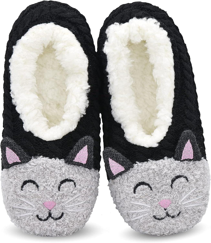 Womens Cozy&Warm Animal Slipper Socks with Grippers-House Socks