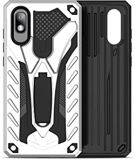 Compatible with Samsung Galaxy A10E Case, Full Body Protective Silicone Gel Personalised Tough Armor Phone Case with A Kickstand Holder for Samsung Galaxy A10E (Silver)
