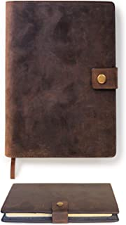 Full Grain Premium Leather Refillable Journal Cover with A5 Lined Notebook, Pen Loop, Card Slots, & Brass Snap by Case Elegance