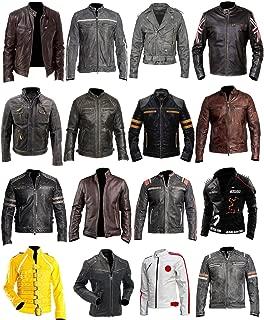 Cafe Racer Jacket Vintage Motorcycle Retro Moto Distressed Leather Jacket